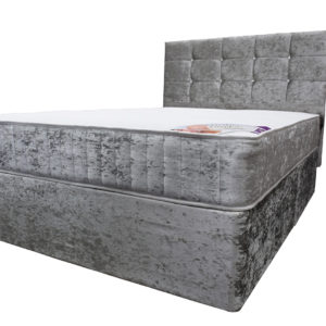 Crushed velvet silver double divan bed with Ortho Comfort mattress and headboard