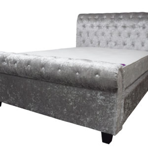 Crushed velvet fabric king size bed high back