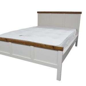 Wooden bed with double mattress