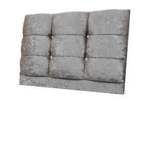 Crushed Velvet single headboard in Truffle with diamante detailing