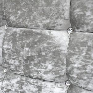 Headboard in silver velvet colour, closer photo showing detail