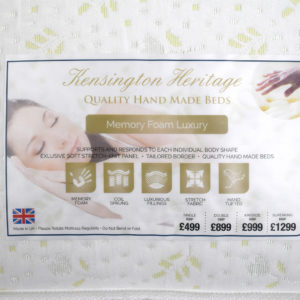 Kensington Heritage memory foam luxury double mattress, showing the label