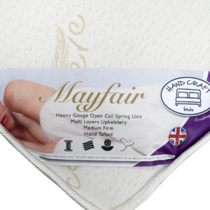 Handcraft Beds Mayfair double mattress, showing the label