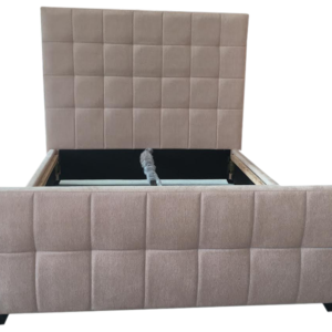 Crushed Velvet Brooke Bed in Cream - front view