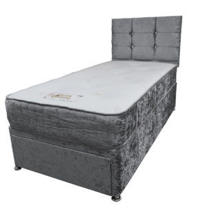 Divan single 3ft bed set with matching base, headboard and mattress in silver crushed velvet