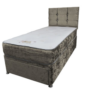 Divan single 3ft bed set with matching base, headboard and mattress in truffle crushed velvet