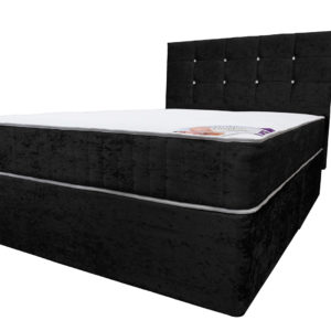 Crushed velvet black double divan bed with Ortho Comfort mattress and headboard