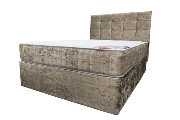 Crushed velvet truffle double divan bed with Ortho Comfort mattress and headboard