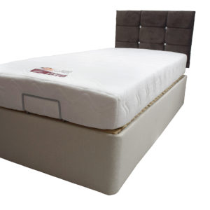 Electric single bed with mattress flat - angled view