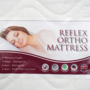 Reflex Ortho Mattress label: Memory foam, hypo allergenic, anti allergenic and anti dust mite resistant