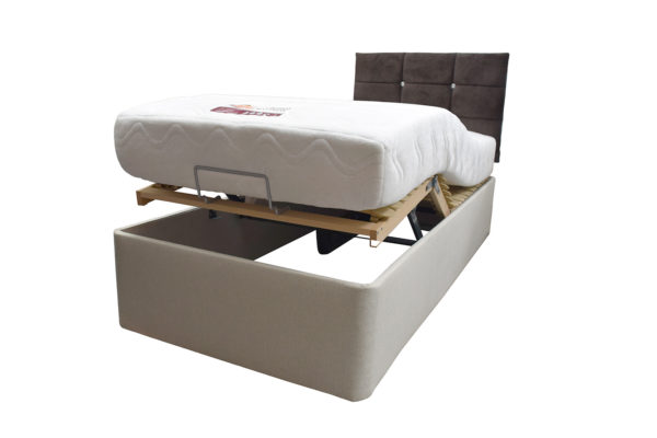 Electric single bed with mattress elevated at the bottom - angled view