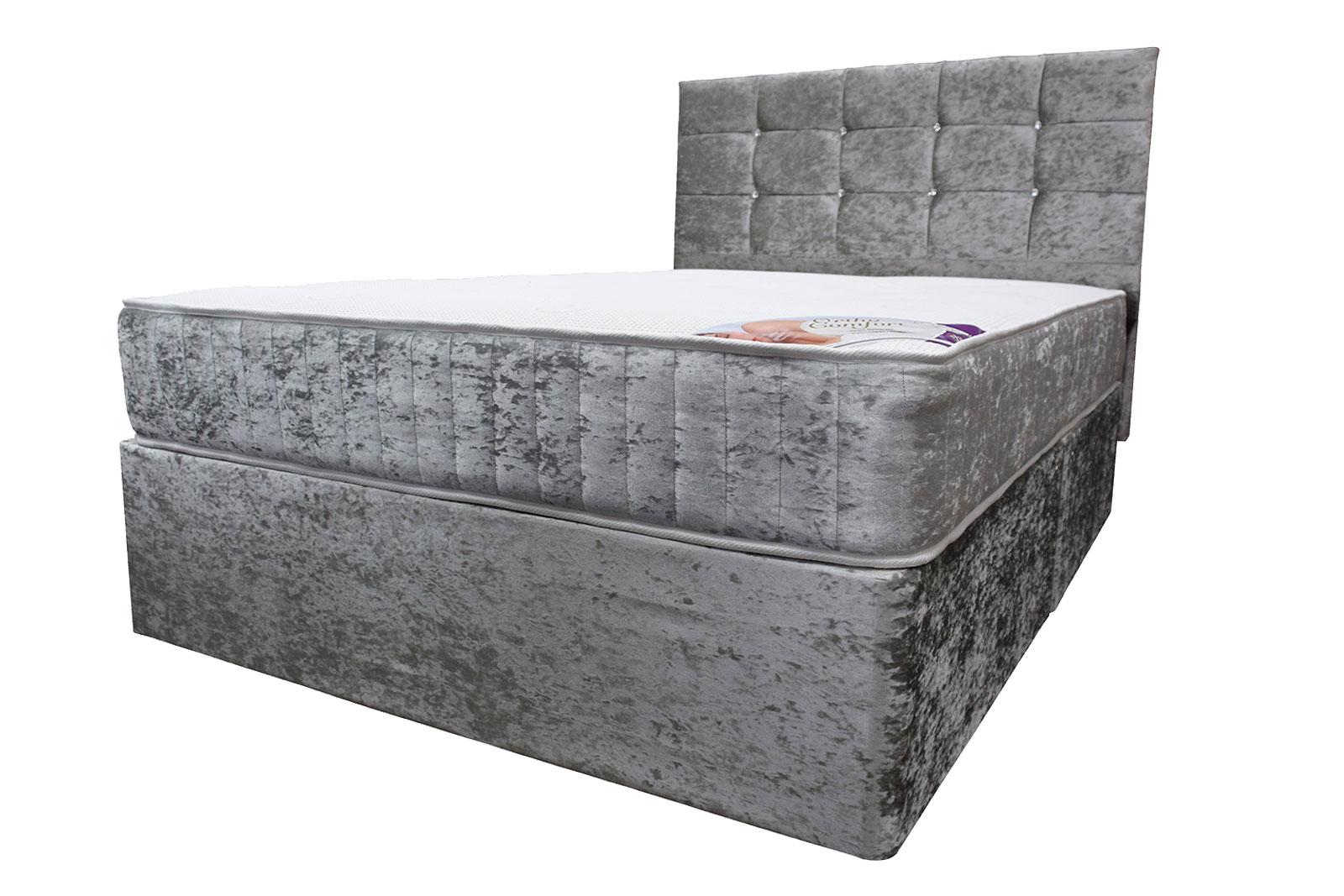 detailed look 9871b 6b5e9 King 5ft Crushed Velvet Divan Bed Set