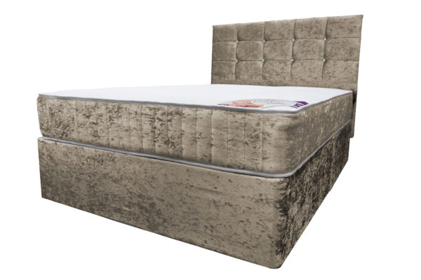 King size divan bed with mattress and headboard in crushed velvet truffle
