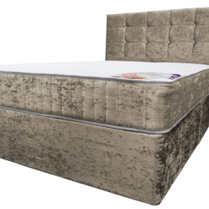 Super King size divan bed with mattress and headboard in crushed velvet truffle