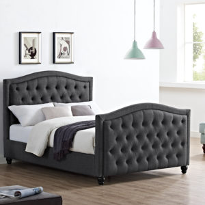 Monroe Bed in charcoal, available in Double and King Size