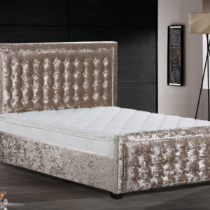 Crushed Velvet Sasha Bed in cream, available in Double and King Size