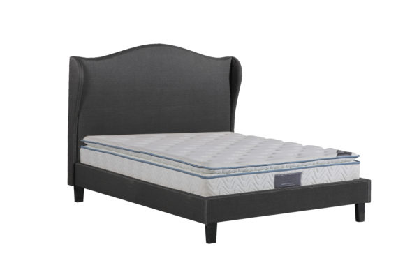 Alice Bed with winged headboard in black chenille, available in Double and King Size