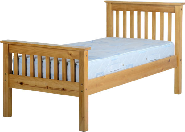 Monaco 3ft single bed with high foot end in Antique Pine