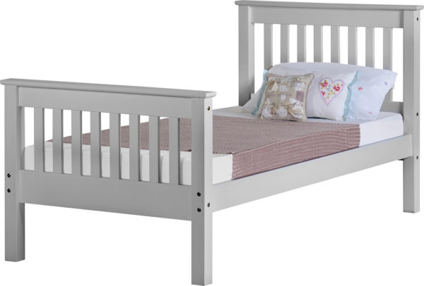 Monaco 3ft single bed with high foot end in grey