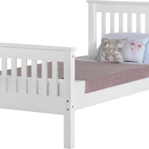 Monaco 3ft single bed with high foot end in white