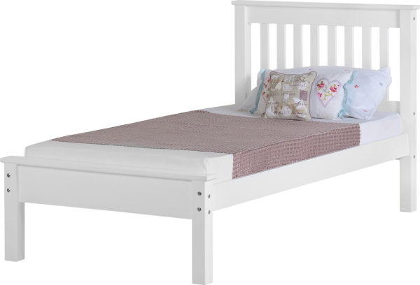 Monaco 3ft single bed with low foot end in white