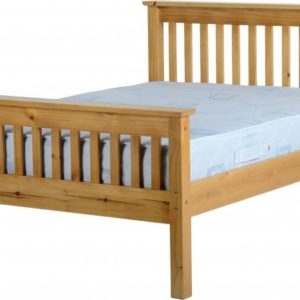Monaco 4ft 6 double bed with high foot end in Antique Pine