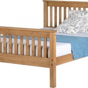 Monaco 4ft 6 double bed with high foot end in Distressed Waxed Pine