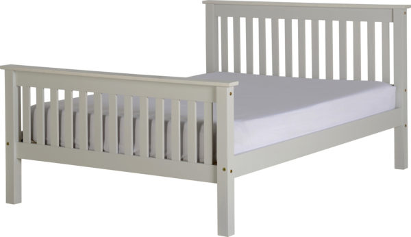 Monaco 4ft 6 double bed with high foot end in grey