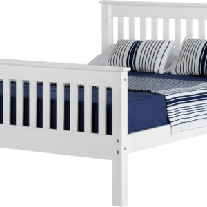 Monaco 4ft 6 double bed with high foot end in white
