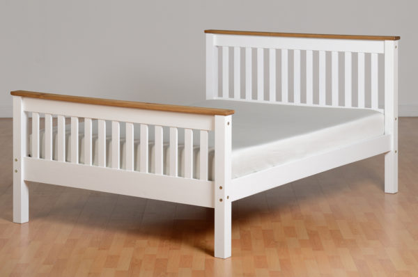 Monaco 4ft 6 double bed with high foot end in White/Distressed Waxed Pine