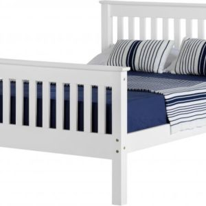 Monaco 4ft small double bed with high foot end available in white