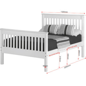 Monaco 4ft small double bed with high foot end available in white, showing measurements