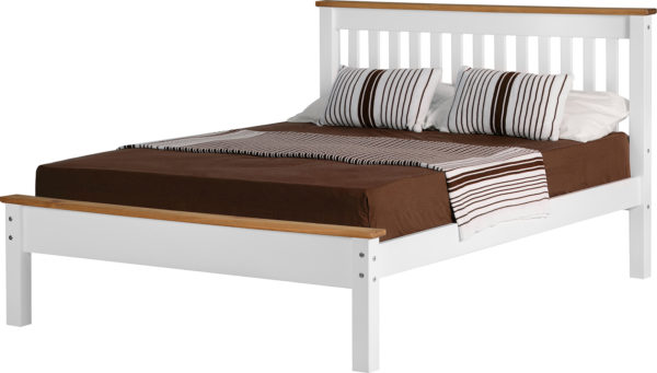 Monaco 4ft 6 double bed with low foot end in White/Distressed Waxed Pine