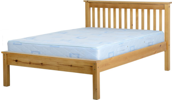 Monaco 4ft 6 double bed with low foot end, shown in Antique Pine