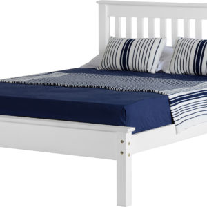 Monaco 4ft 6 double bed with low foot end, shown in white