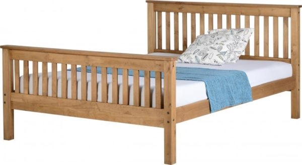 Monaco 5ft King Size bed with high foot end in distressed waxed pine