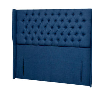Blue tall winged double headboard