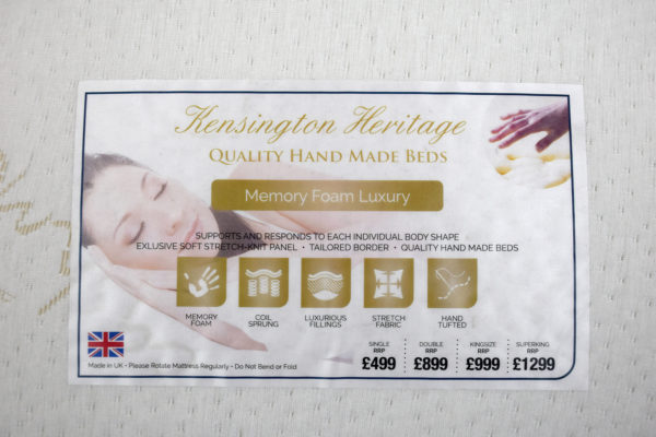 Kensington Heritage Memory Foam Luxury single mattress, showing the label
