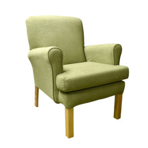 Chair green coloured fabric showing the front profile