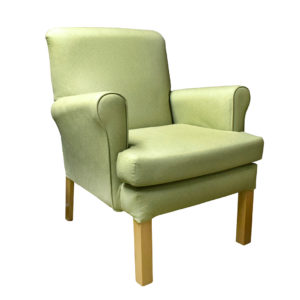 Chair in light green patterned fabric - front