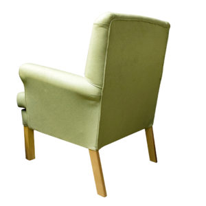 Chair in light green patterned fabric - reverse