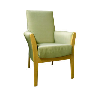 Chair in light green plain fabric - front