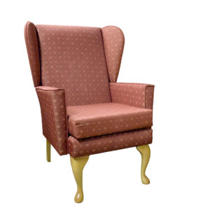 Chair red patterned fabric showing the front profile