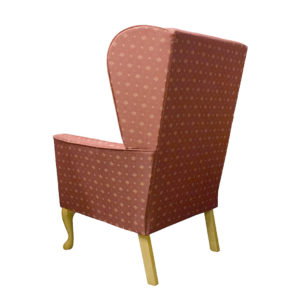 Chair red patterned fabric showing the rear profile