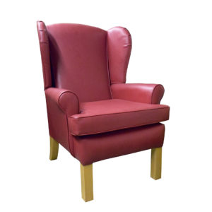 Chair red colour showing front profile