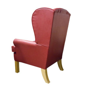 Chair red colour showing rear profile