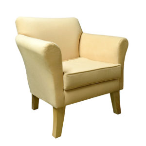 Chair yellow coloured fabric showing the front profile