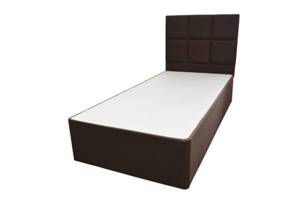 Single 3ft brown Aspire divan bed set, showing the matching base and headboard