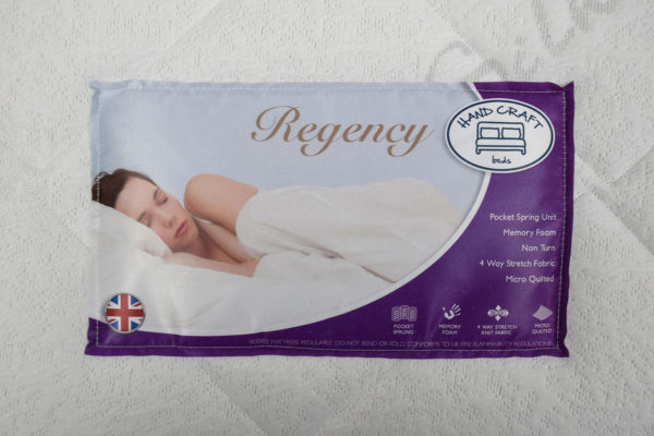Serenity Comfort Tabley mattress, showing the label