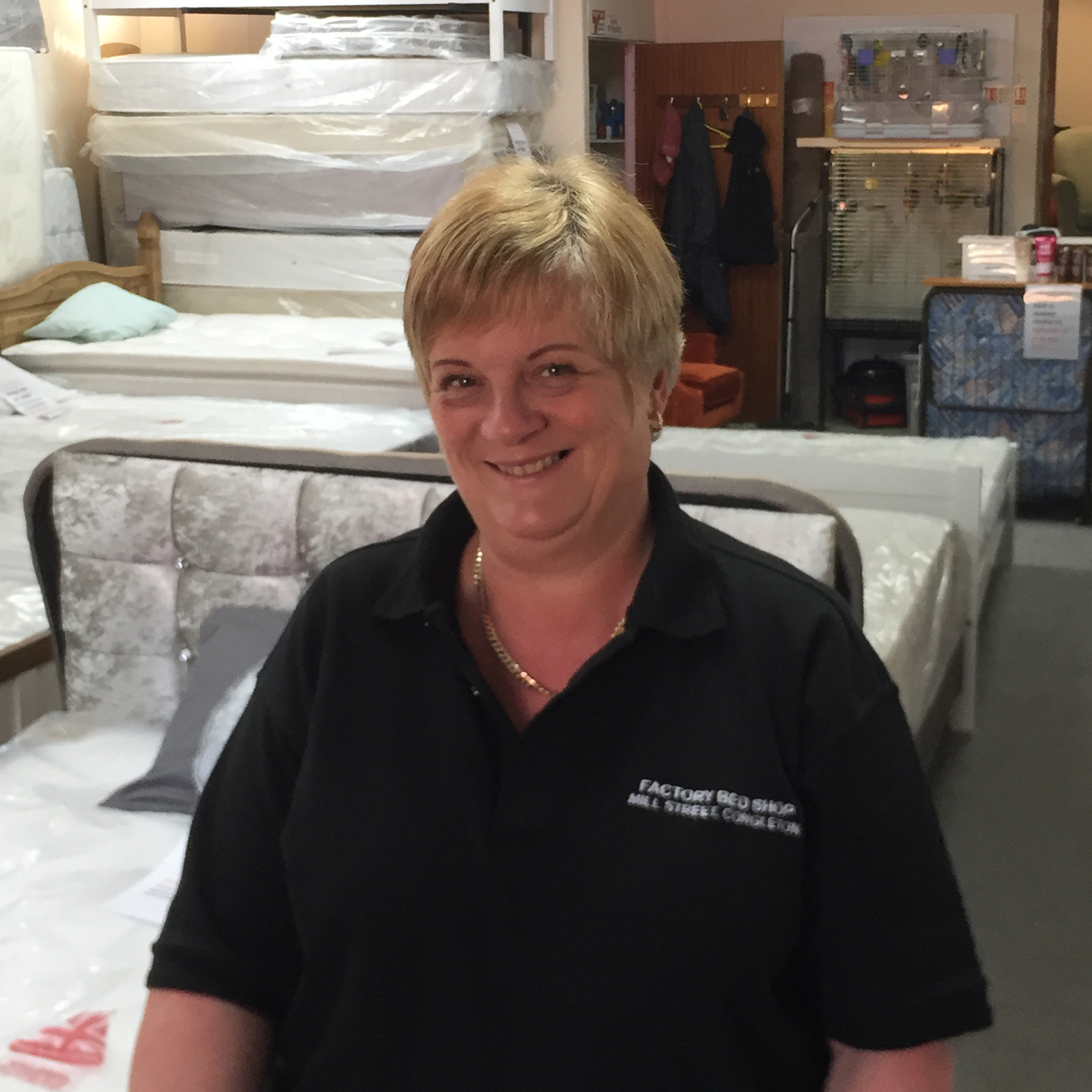 Lesley Heapy, sales woman at Factory Bedrooms